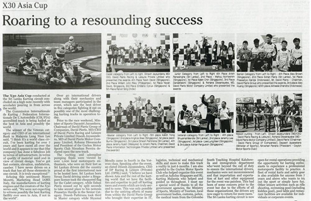 SRI LANKA'S FIRST INTERNATIONAL KARTING RACE A RESOUNDING SUCCESS